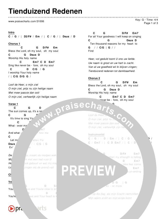 Tienduizend Redenen (10000 Reasons (Bless The Lord)) Chords & Lyrics (Matt Redman / Passion)