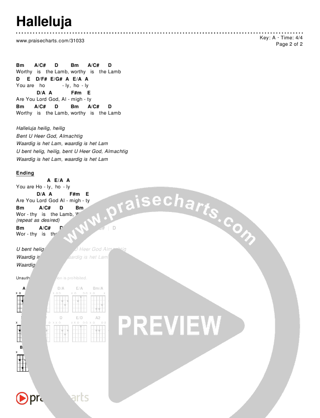 Halleluja Chords & Lyrics ()
