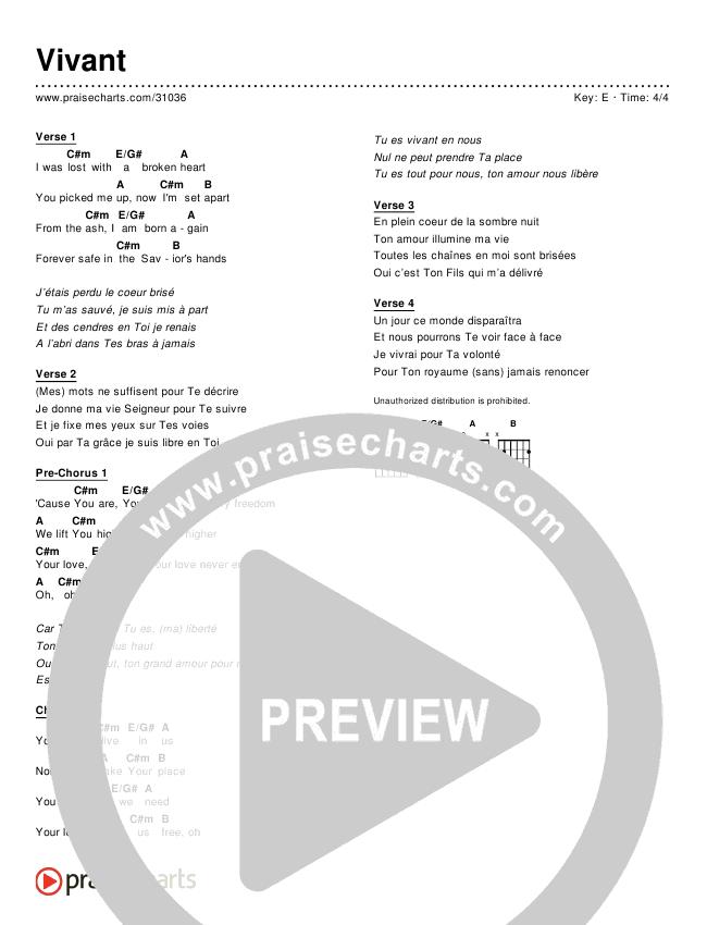 Vivant (Simplified) Chord Chart ()