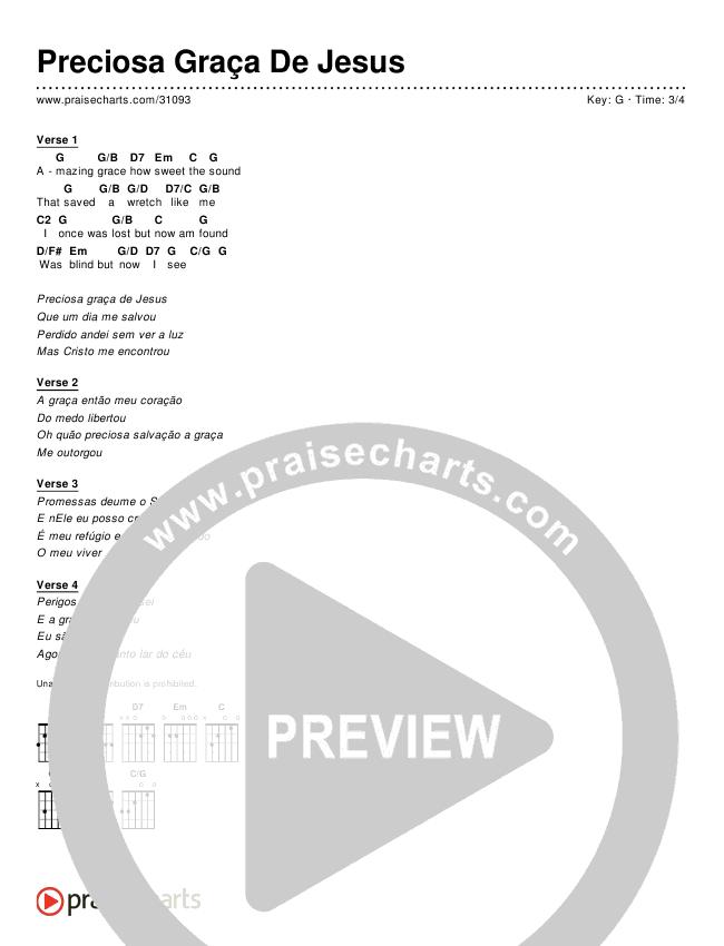 Preciosa Graça De Jesus (Simplified) Chords & Lyrics ()