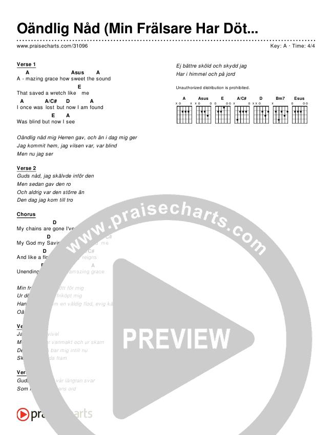 Oändlig Nåd (Min Frälsare Har Dött För Mig) (Simplified) Chords & Lyrics ()