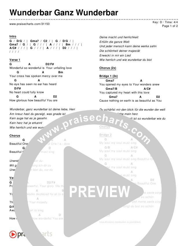 Wunderbar Ganz Wunderbar Chords & Lyrics ()