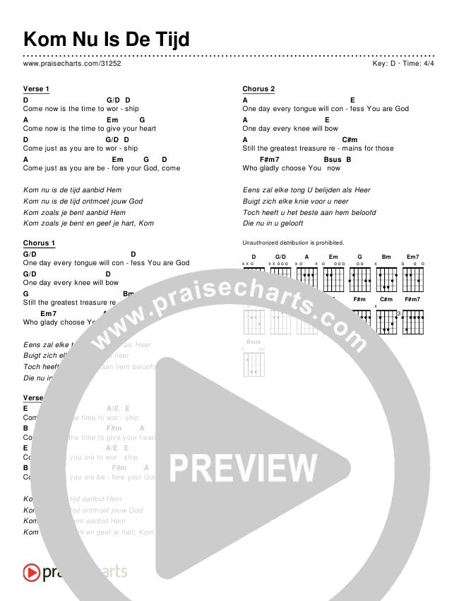 Kom Nu Is De Tijd (Simplified) Chords & Lyrics ()