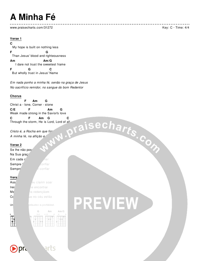 A Minha Fé (Simplified) Chords & Lyrics ()