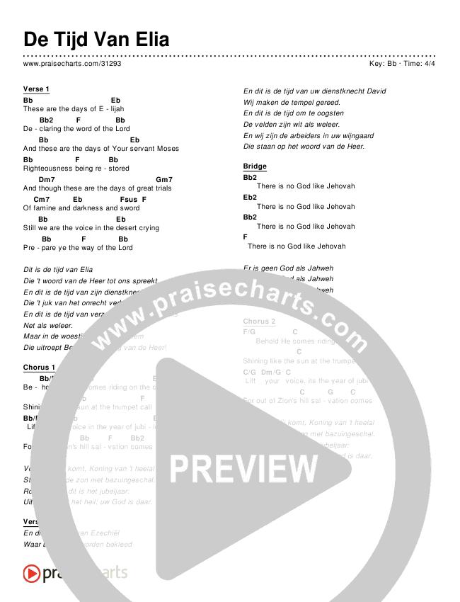 De Tijd Van Elia (Days of Elijah) (Simplified) Chords & Lyrics ()