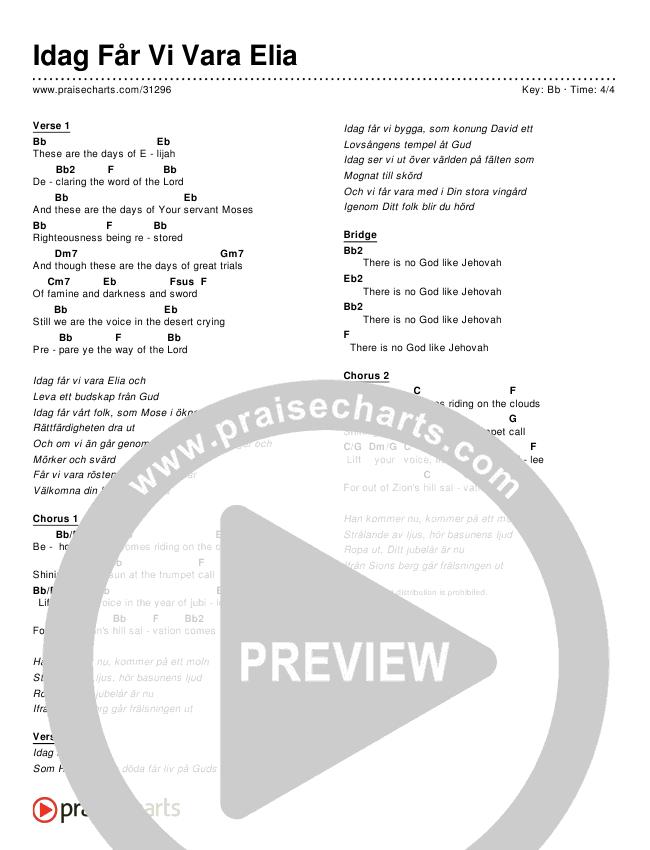 Idag Får Vi Vara Elia (Simplified) Chords & Lyrics ()