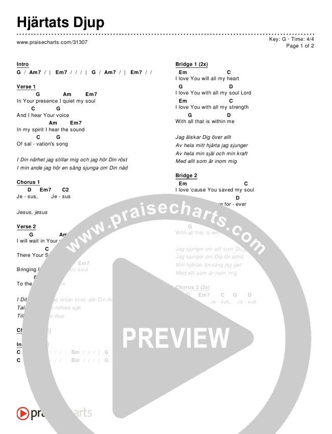 Hillsong Worship Hjärtats Djup Chord Chart In G P 1