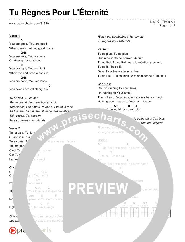Tu Règnes Pour L'Éternité (Simplified) Chords & Lyrics ()