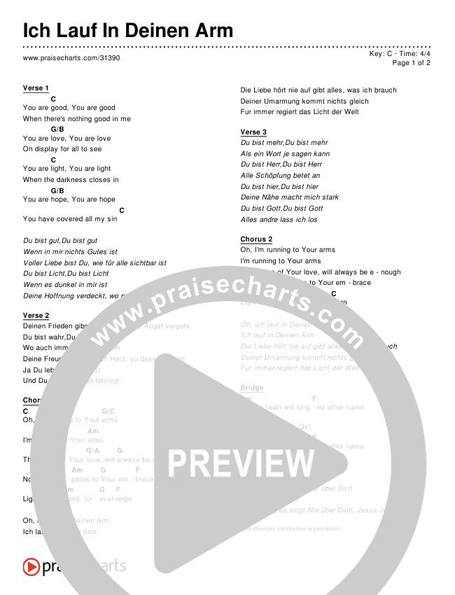 Ich Lauf In Deinen Arm (Simplified) Chord Chart ()