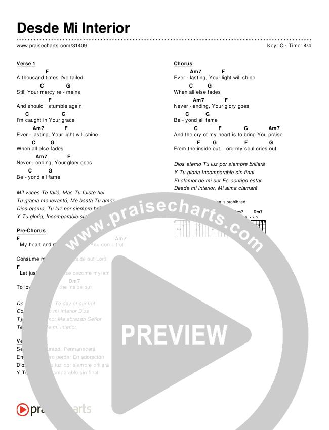 Desde Mi Interior (Simplified) Chords & Lyrics ()