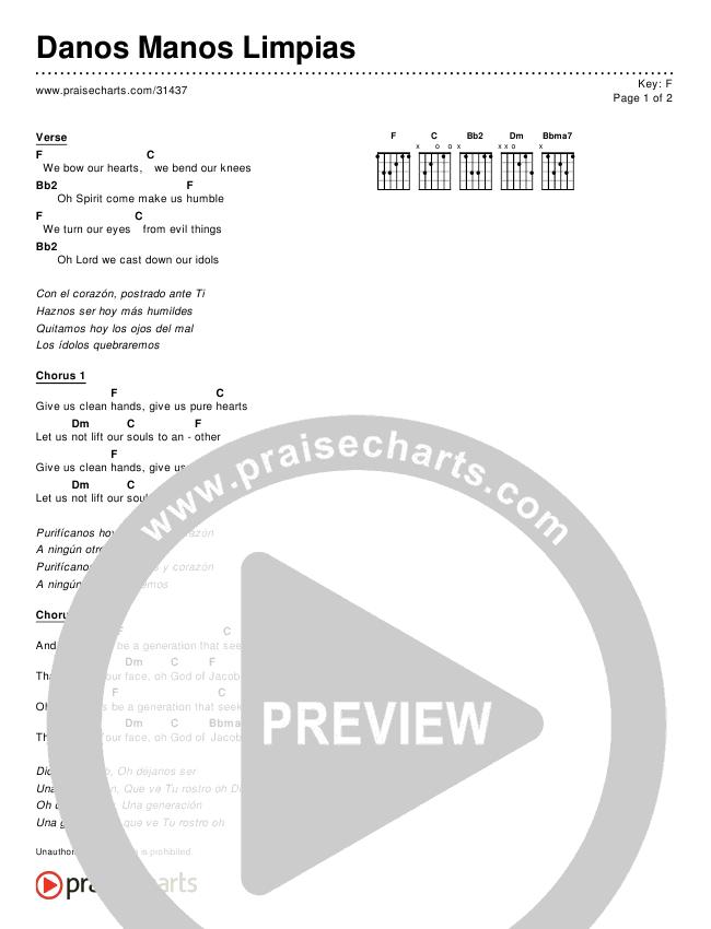 Danos Manos Limpias (Simplified) Chords & Lyrics ()