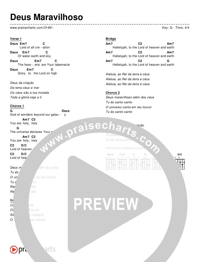 Deus Maravilhoso (Simplified) Chords ()