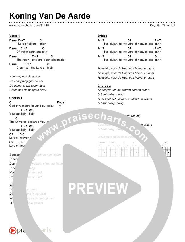 Koning Van De Aarde (Simplified) Chords & Lyrics ()