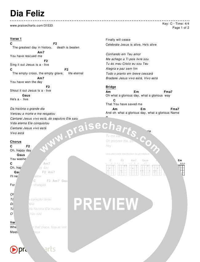 Dia Feliz (Simplified) Chords & Lyrics ()