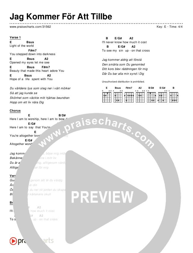 Jag Kommer För Att Tillbe (Simplified) Chords & Lyrics ()