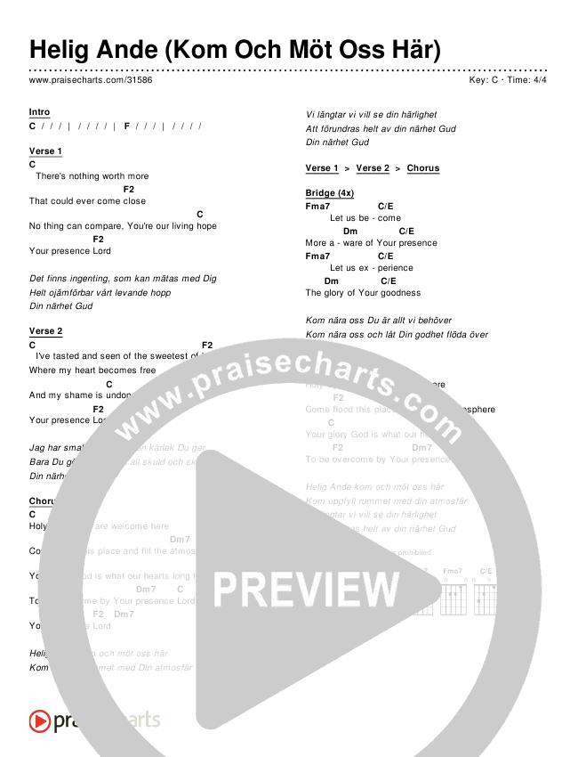 Helig Ande (Kom Och Möt Oss Här) (Simplified) Chords & Lyrics ()