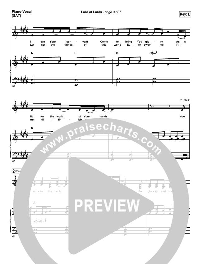 Lord Of Lords Piano/Vocal (SATB) (Hillsong Worship)