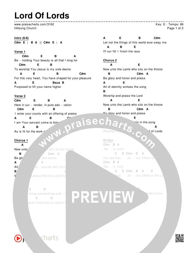 Lord Of Lords Chords & Lyrics (Hillsong Worship)