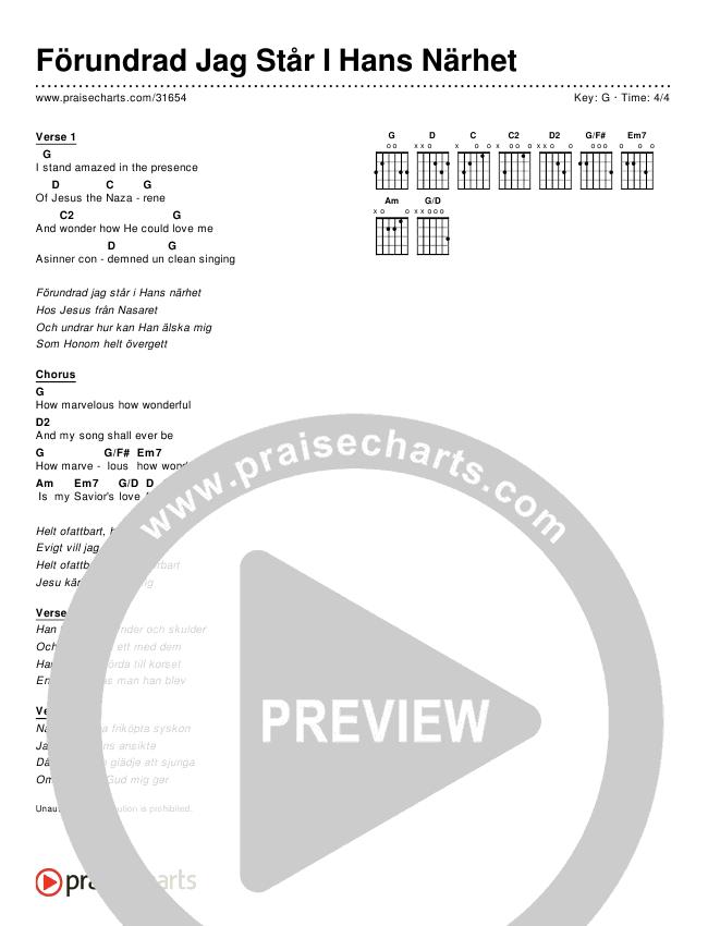 Förundrad Jag Står I Hans Närhet (Simplified) Chords & Lyrics ()