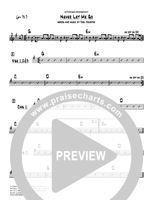Never Let Me Go (Instrumental) Lead Sheet & Piano/Vocal