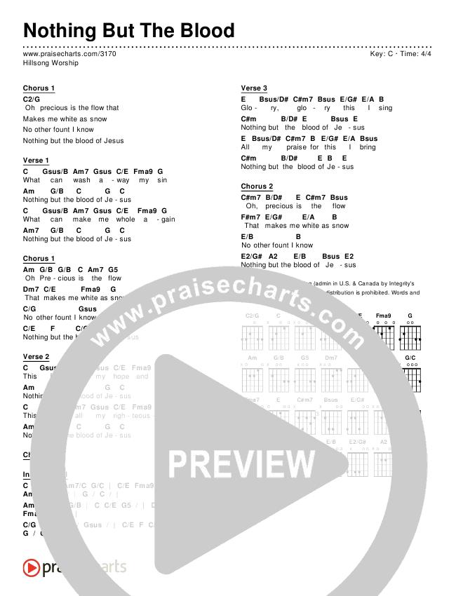 Nothing But The Blood Chords & Lyrics (Hillsong Worship)