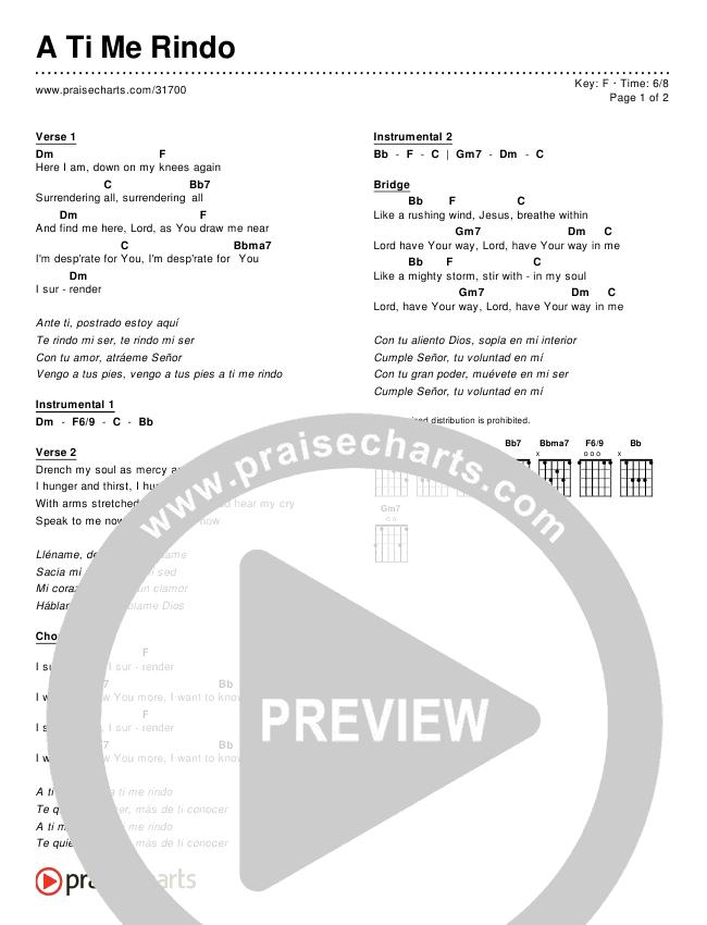 A Ti Me Rindo (Simplified) Chord Chart ()