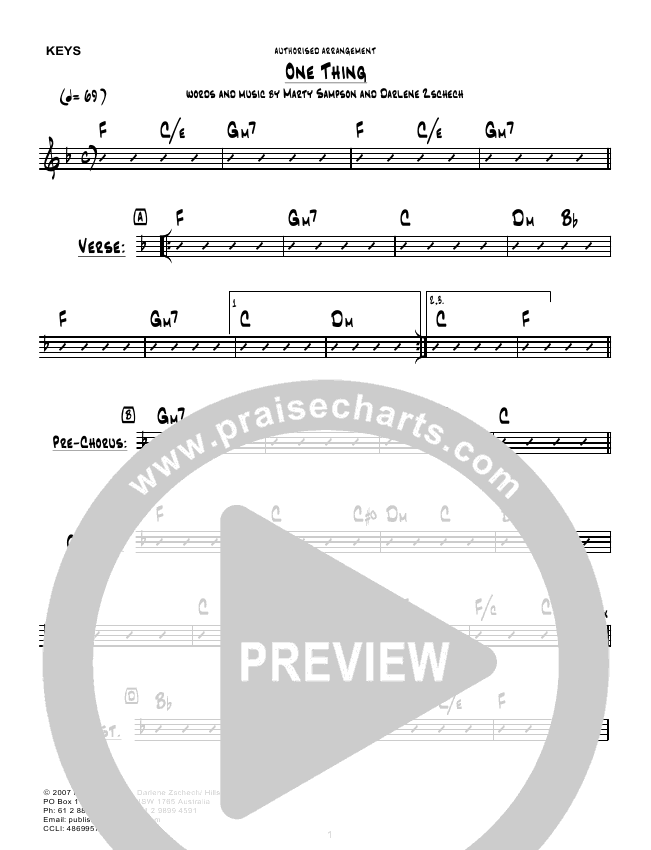 One Thing Instrumental Ensemble Hillsong Worship Praisecharts