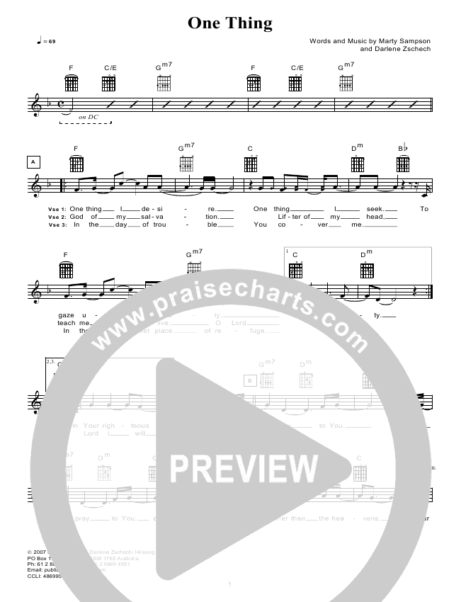 One Thing (Instrumental) Lead Sheet & Piano/Vocal - Hillsong Worship