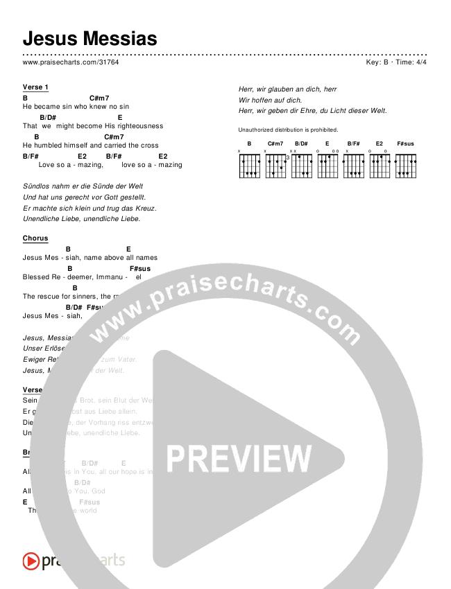 Jesus Messias (Jesus Messiah) (Simplified) Chord Chart ()