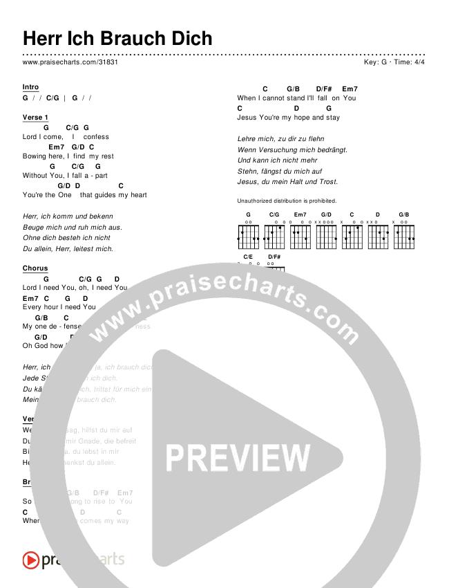 Herr Ich Brauch Dich (Simplified) Chord Chart ()