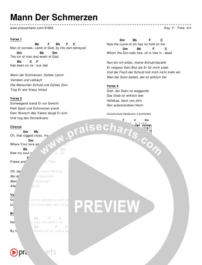 Mann Der Schmerzen (Simplified) Chords & Lyrics ()