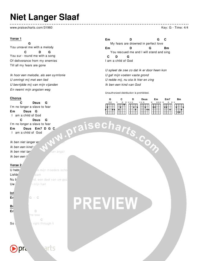 Niet Langer Slaaf (Simplified) Chords & Lyrics ()