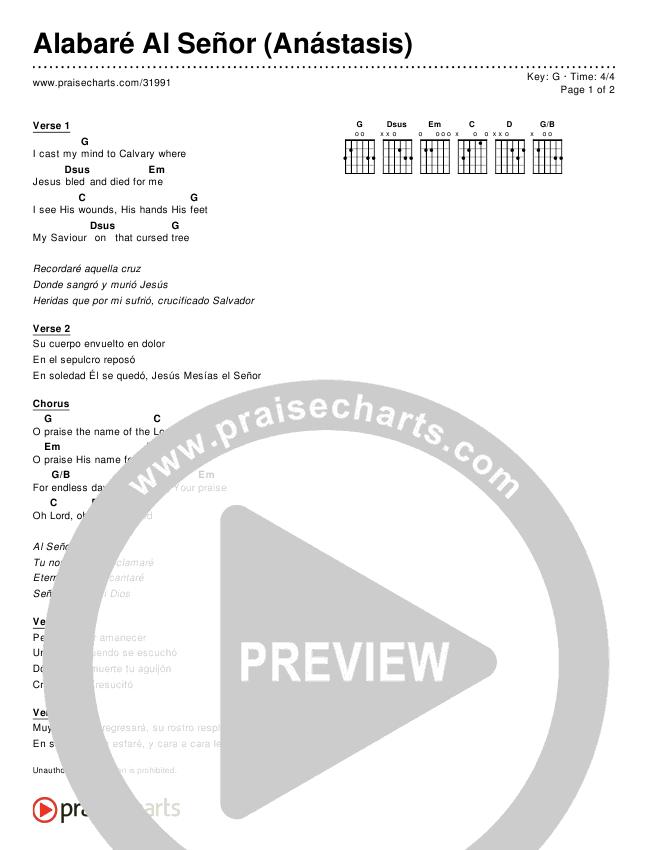 Alabaré Al Señor (Anástasis) (Simplified) Chord Chart ()