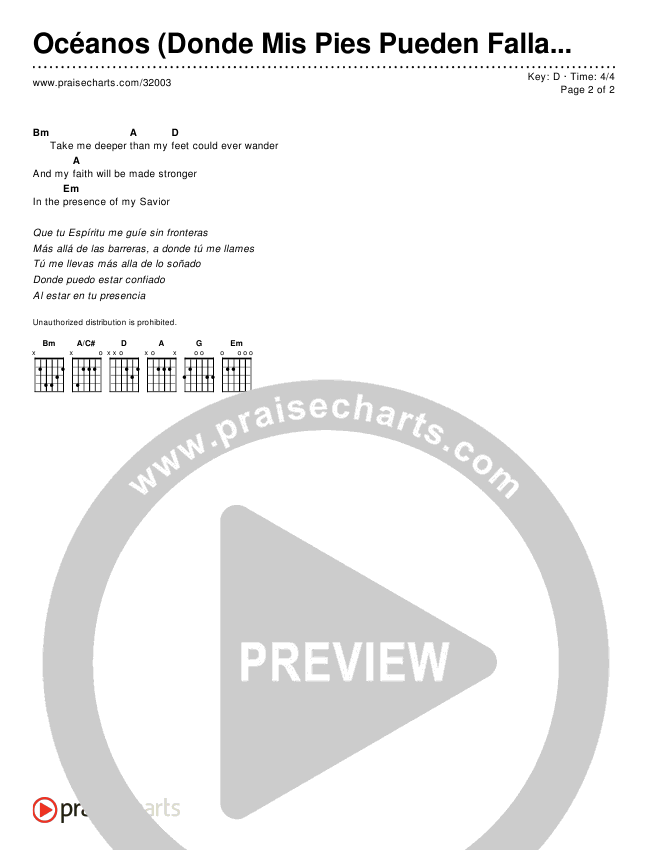 Océanos (Donde Mis Pies Pueden Fallar) (Oceans (Where Feet May Fail))(Simplified) Chord Chart ()