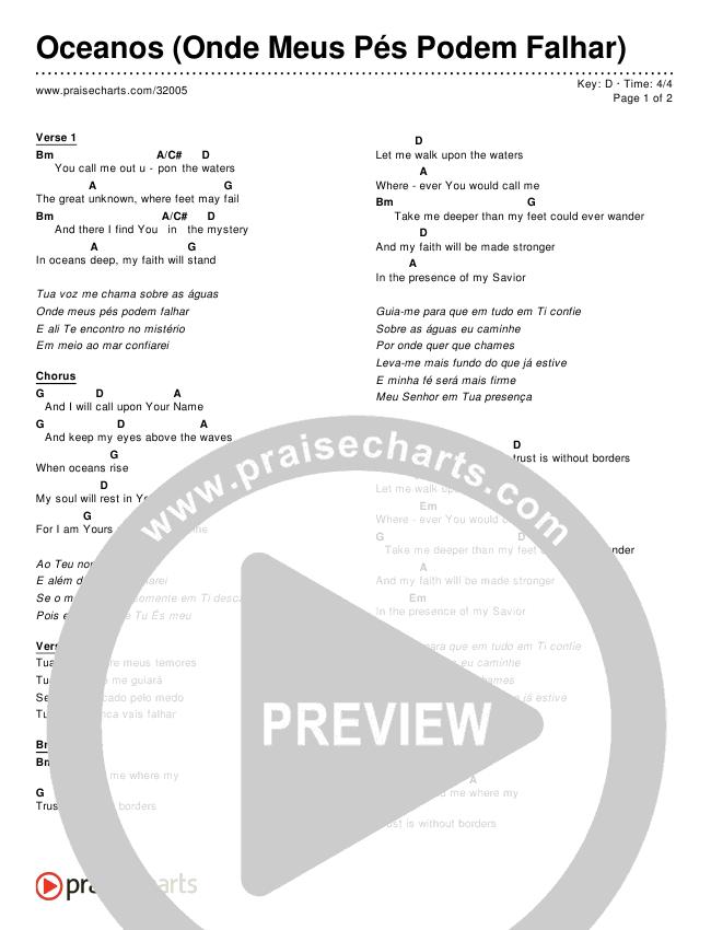 Oceanos (Onde Meus Pés Podem Falhar) (Simplified) Chords & Lyrics ()