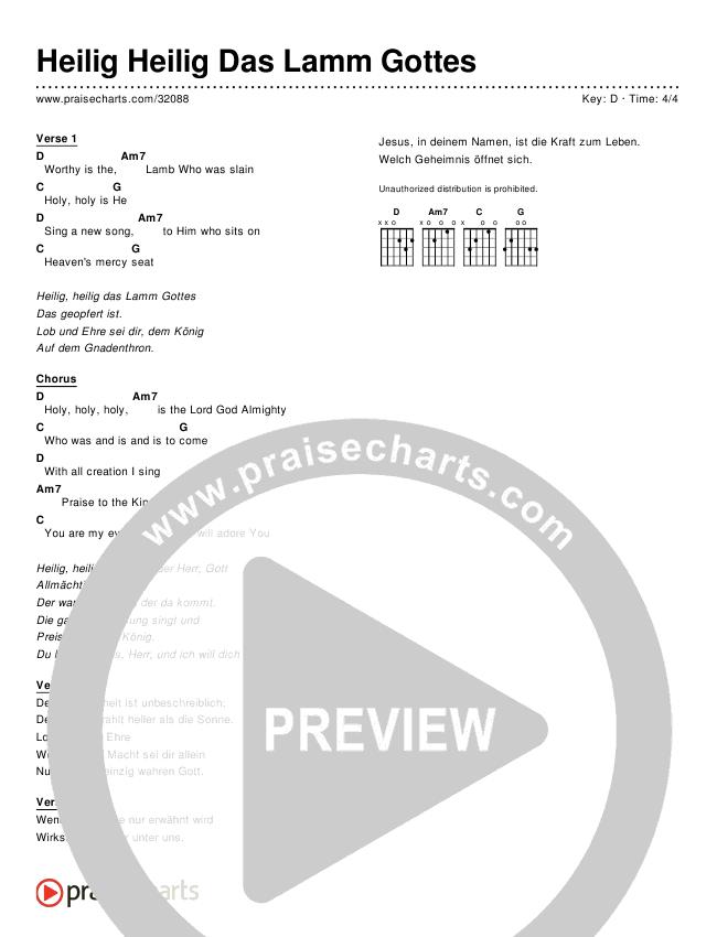 Heilig Heilig Das Lamm Gottes (Revelation Song) (Simplified) Chord Chart ()