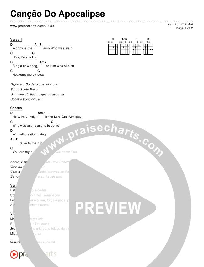 Canção Do Apocalipse (Simplified) Chords & Lyrics ()