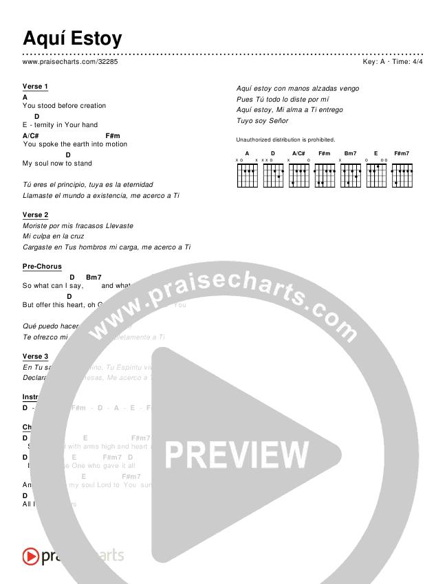 Aquí Estoy (Simplified) Chords & Lyrics ()