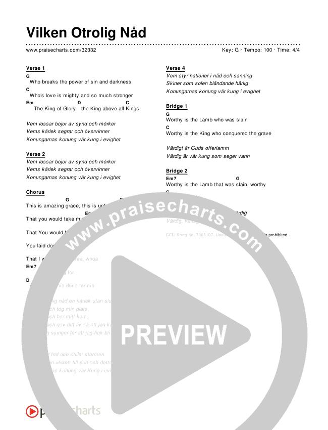 Vilken Otrolig Nåd (Simplified) Chords & Lyrics ()