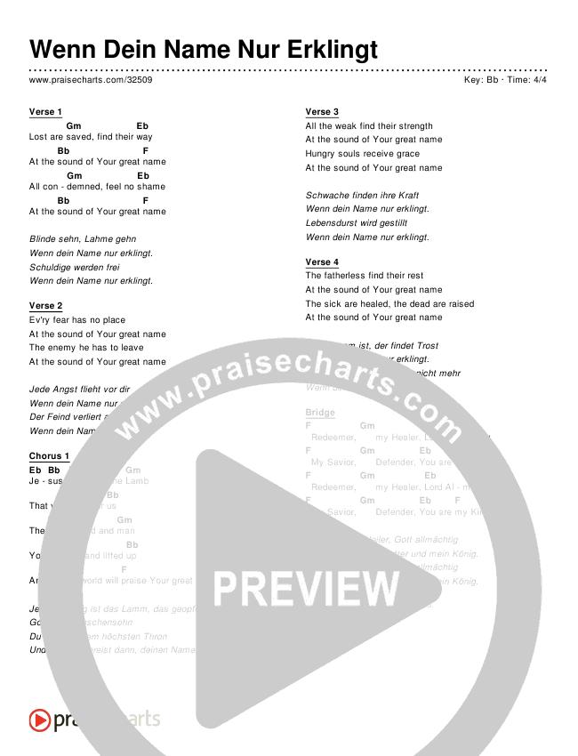 Wenn Dein Name Nur Erklingt (Your Great Name) (Simplified) Chords & Lyrics ()