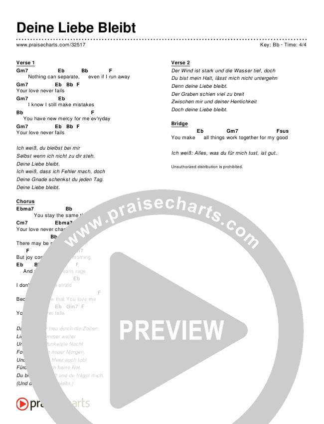 Deine Liebe Bleibt (Simplified) Chords & Lyrics ()