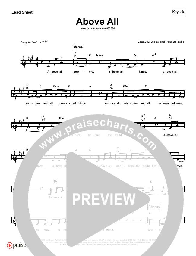Above All (Simplified) Lead Sheet (Lenny LeBlanc)