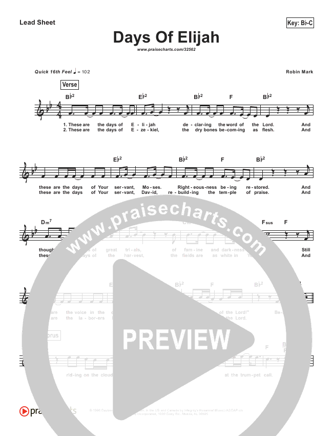 Days Of Elijah (Simplified) Lead Sheet (Robin Mark)