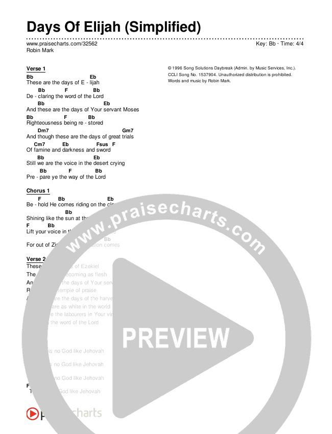 Days Of Elijah (Simplified) Chords & Lyrics (Robin Mark)