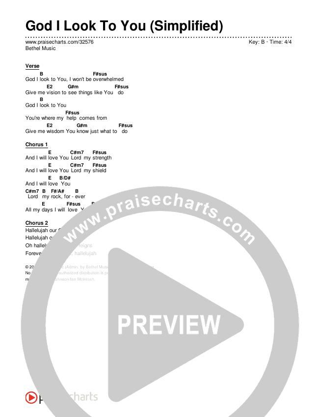 God I Look To You (Simplified) Chords & Lyrics (Bethel Music)
