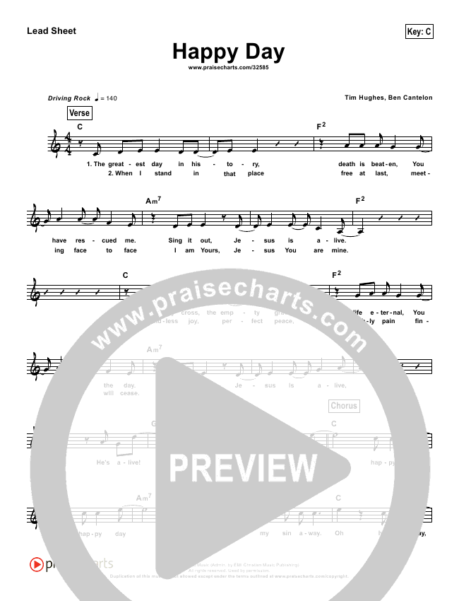 Happy Day (Simplified) Lead Sheet (Tim Hughes)