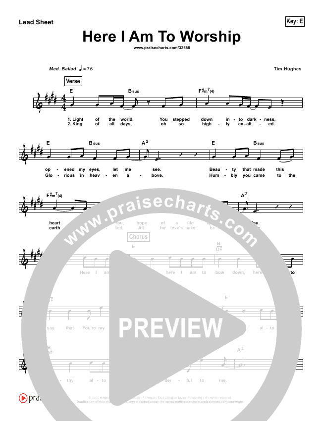 Here I Am To Worship (Simplified) Lead Sheet (Chris Tomlin / Passion)