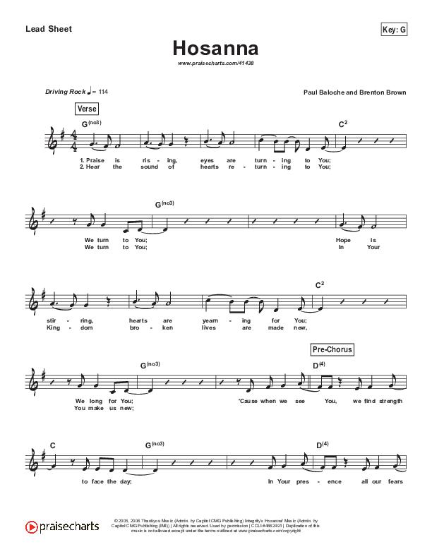 Hosanna (Praise Is Rising) (Simplified) Lead Sheet (Paul Baloche)