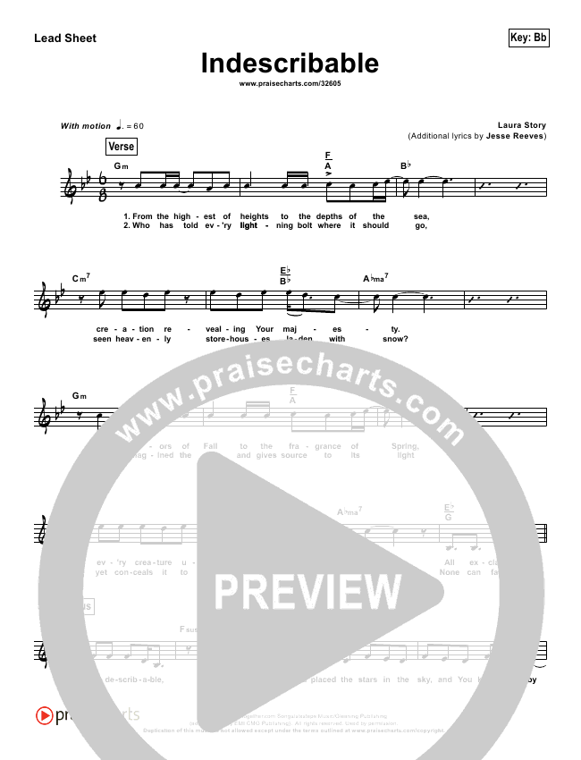 Indescribable (Simplified) Lead Sheet (Chris Tomlin / Passion Band)