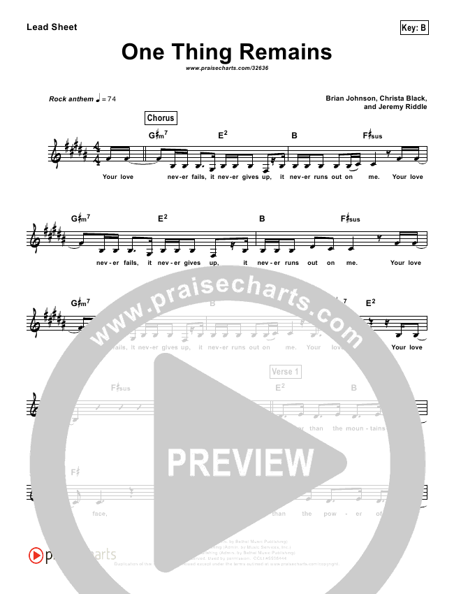 One Thing Remains (Simplified) Lead Sheet (Kristian Stanfill / Passion)